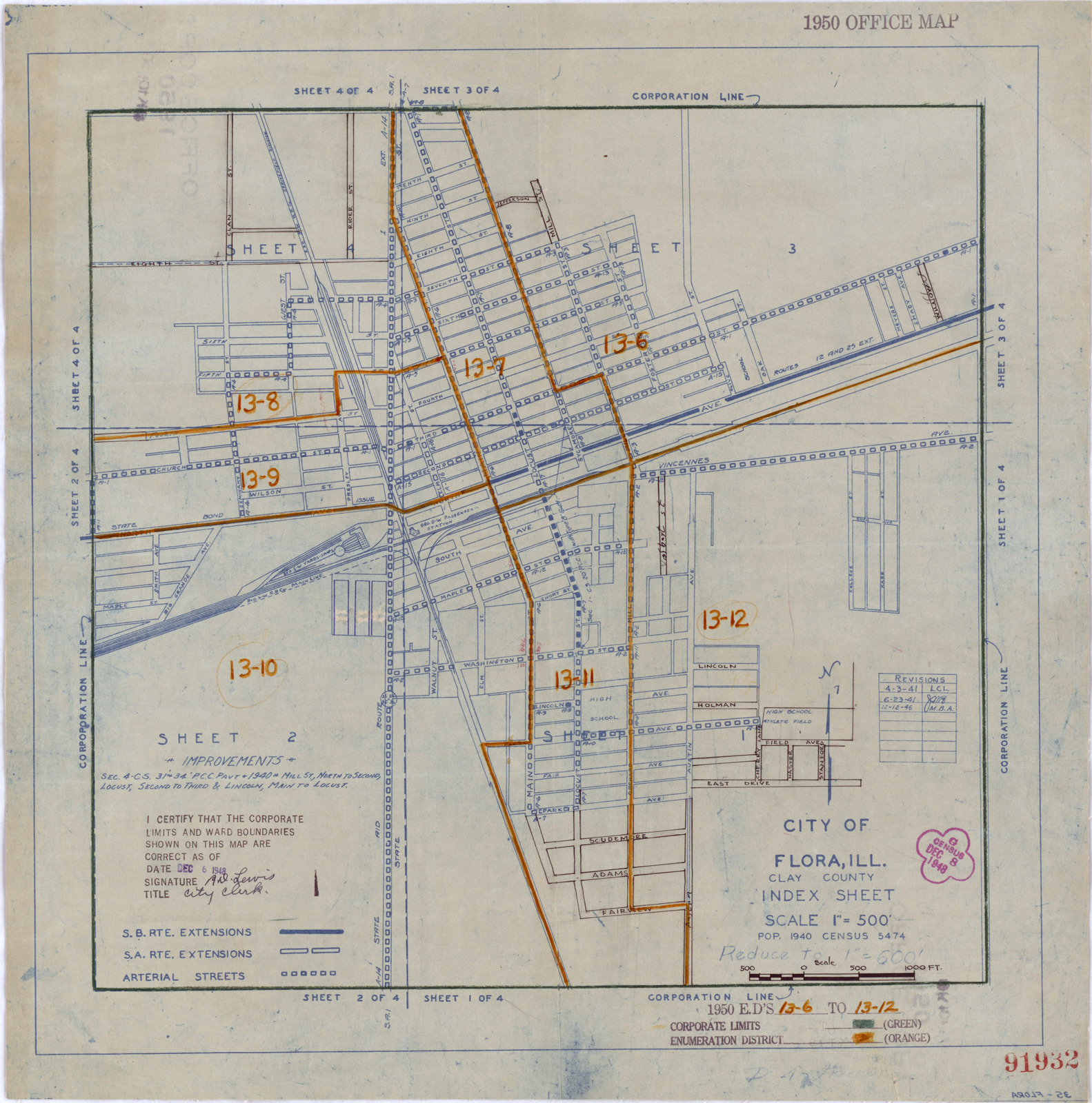 1950 Census Enumeration District Maps Illinois Il Clay County