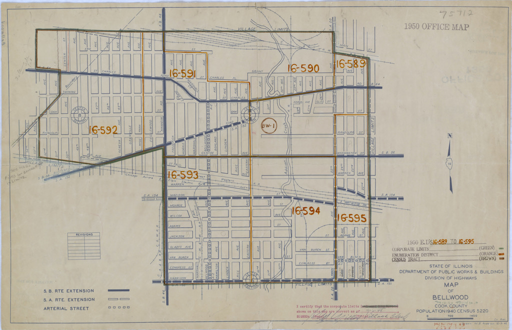 1950 Census Enumeration District Maps - Illinois (IL) - Cook County - Bellwood - ED 16-589 to 595