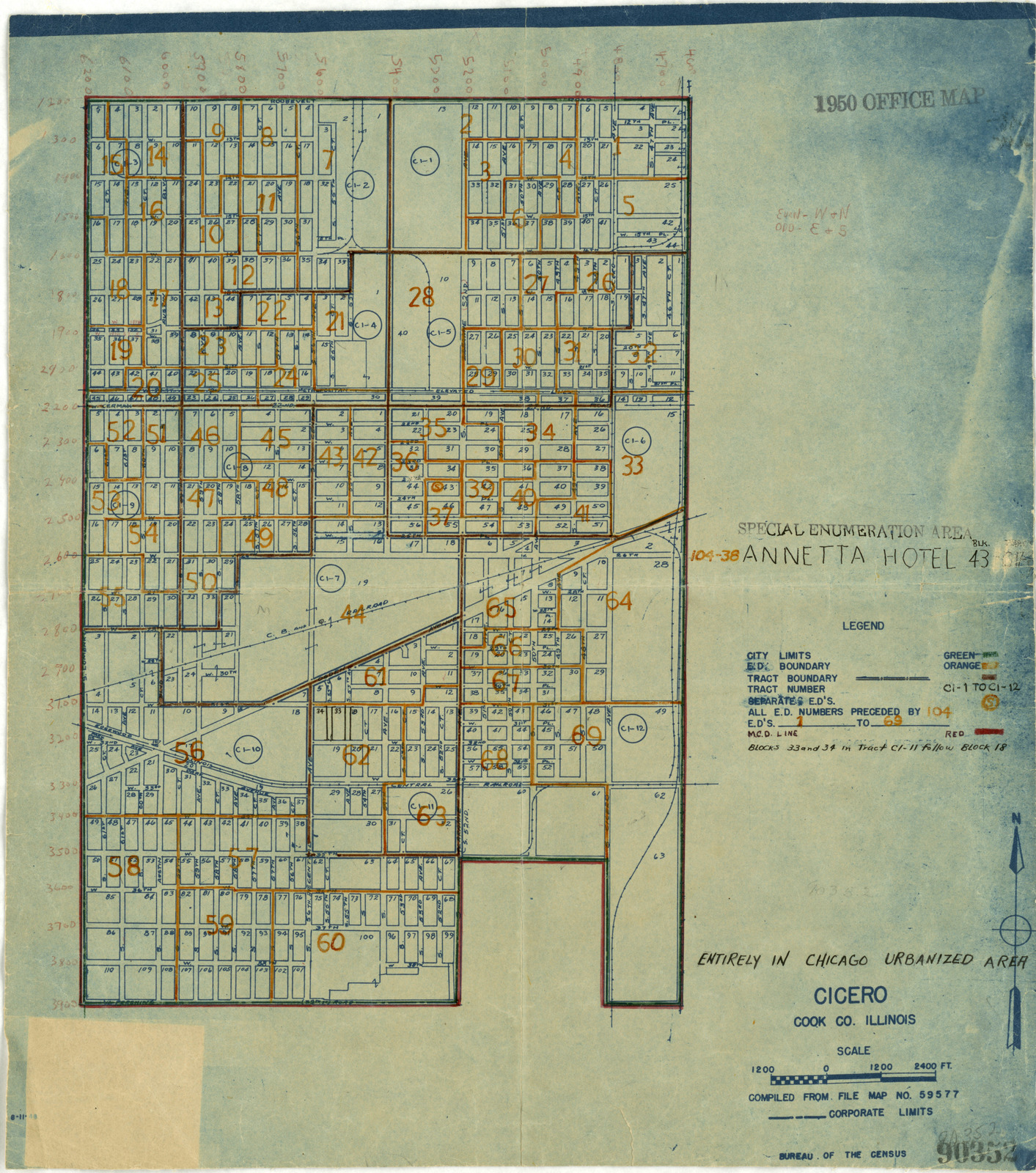 1950 Census Enumeration District Maps - Illinois (IL) - Cook County - Cicero - ED 104-1 to 69