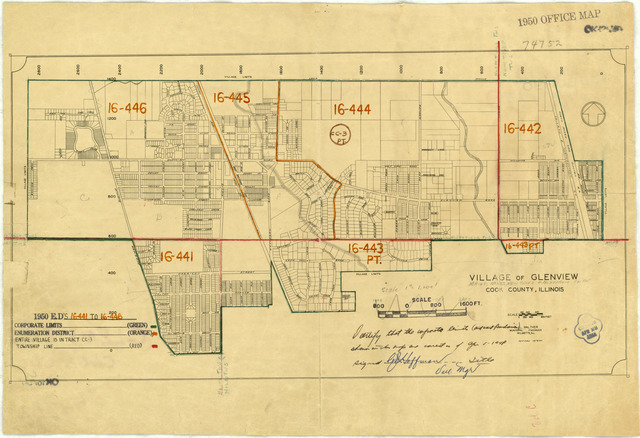 1950 Census Enumeration District Maps - Illinois (IL) - Cook County - Glenview - ED 16-441 to 446