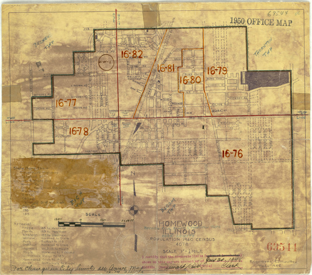 1950 Census Enumeration District Maps - Illinois (IL) - Cook County - Homewood - ED 16-76 to 82