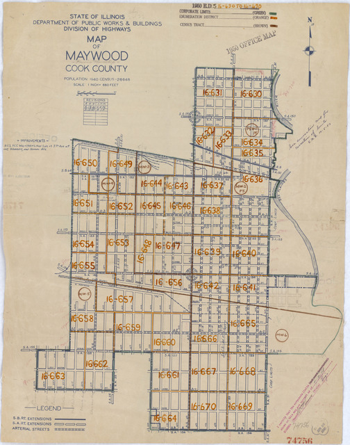 1950 Census Enumeration District Maps - Illinois (IL) - Cook County - Maywood - ED 16-630 to 670