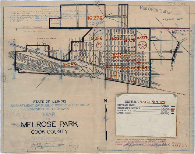 1950 Census Enumeration District Maps - Illinois (IL) - Cook County - Melrose Park - ED 16-276 to 292