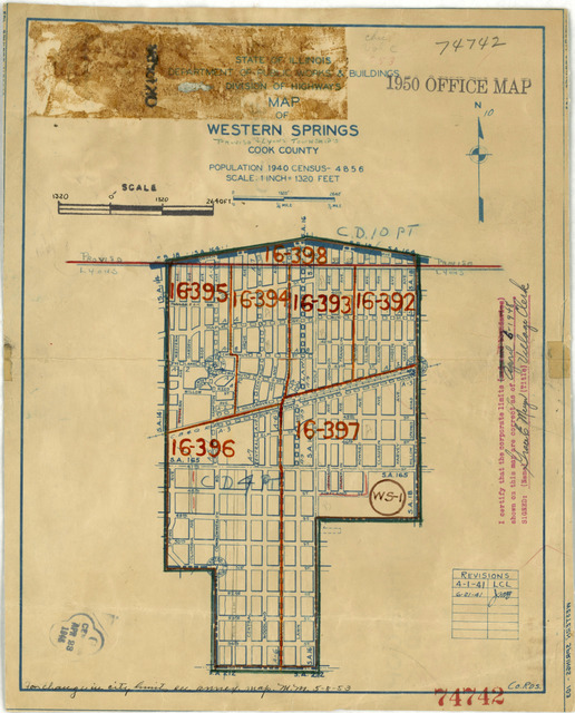 1950 Census Enumeration District Maps - Illinois (IL) - Cook County - Western Springs - ED 16-392 to 398