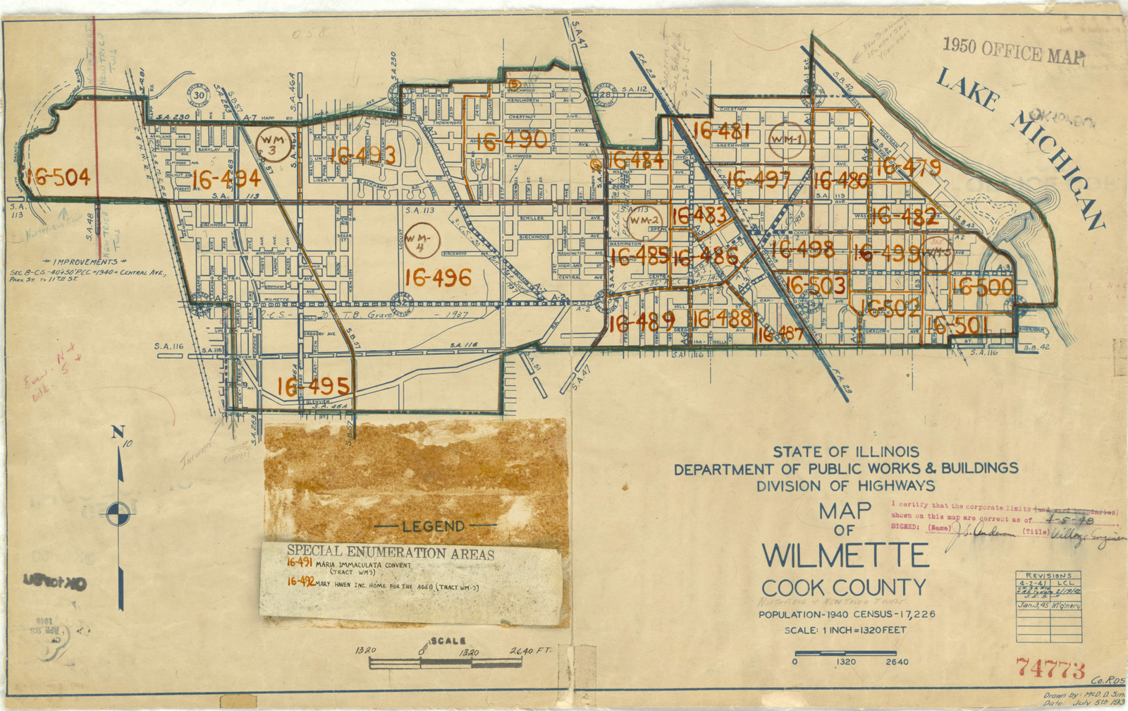 1950 Census Enumeration District Maps - Illinois (IL) - Cook County - Wilmette - ED 16-479 to 504