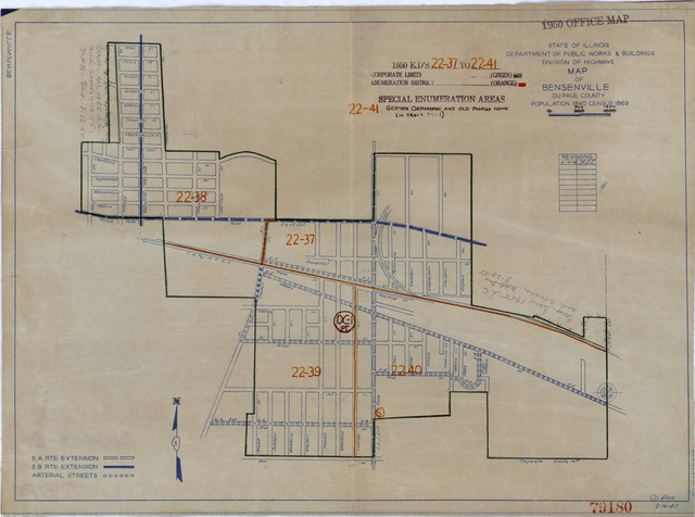 1950 Census Enumeration District Maps - Illinois (IL) - Du Page County - Bensenville - ED 22-37 to 41