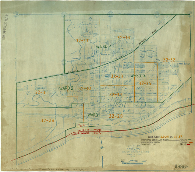 1950 Census Enumeration District Maps - Illinois (IL) - Grundy County - Morris - ED 32-28 to 37