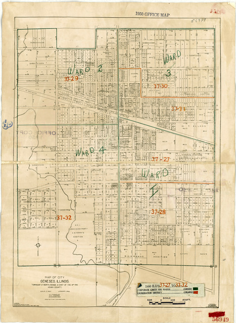 1950 Census Enumeration District Maps - Illinois (IL) - Henry County - Geneseo - ED 37-27 to 32
