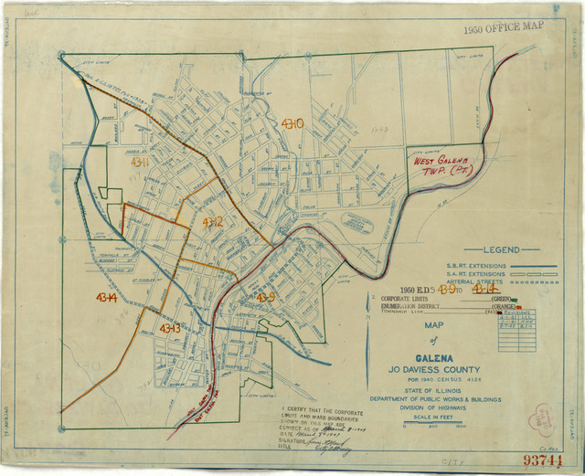 1950 Census Enumeration District Maps - Illinois (IL) - Jo Daviess County - Galena - ED 43-9 to 14