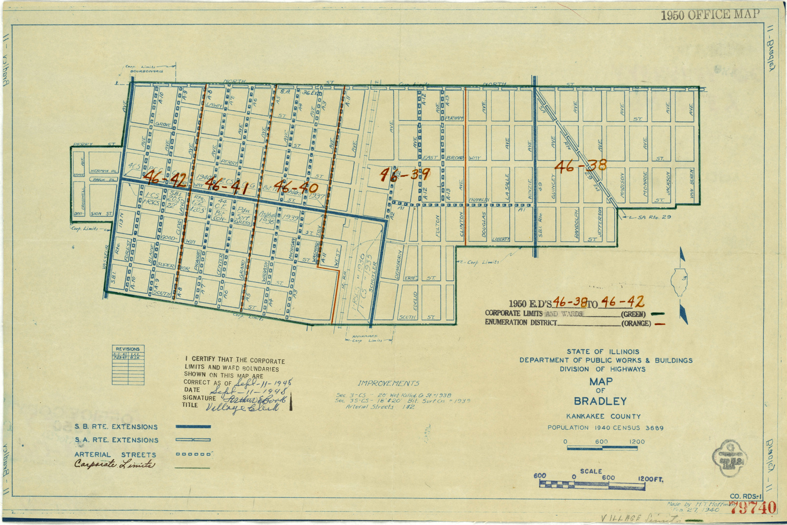 1950 Census Enumeration District Maps Illinois Il Kankakee