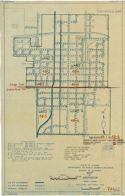 1950 Census Enumeration District Maps - Illinois (IL) - Knox County - Abingdon - ED 48-1 to 6