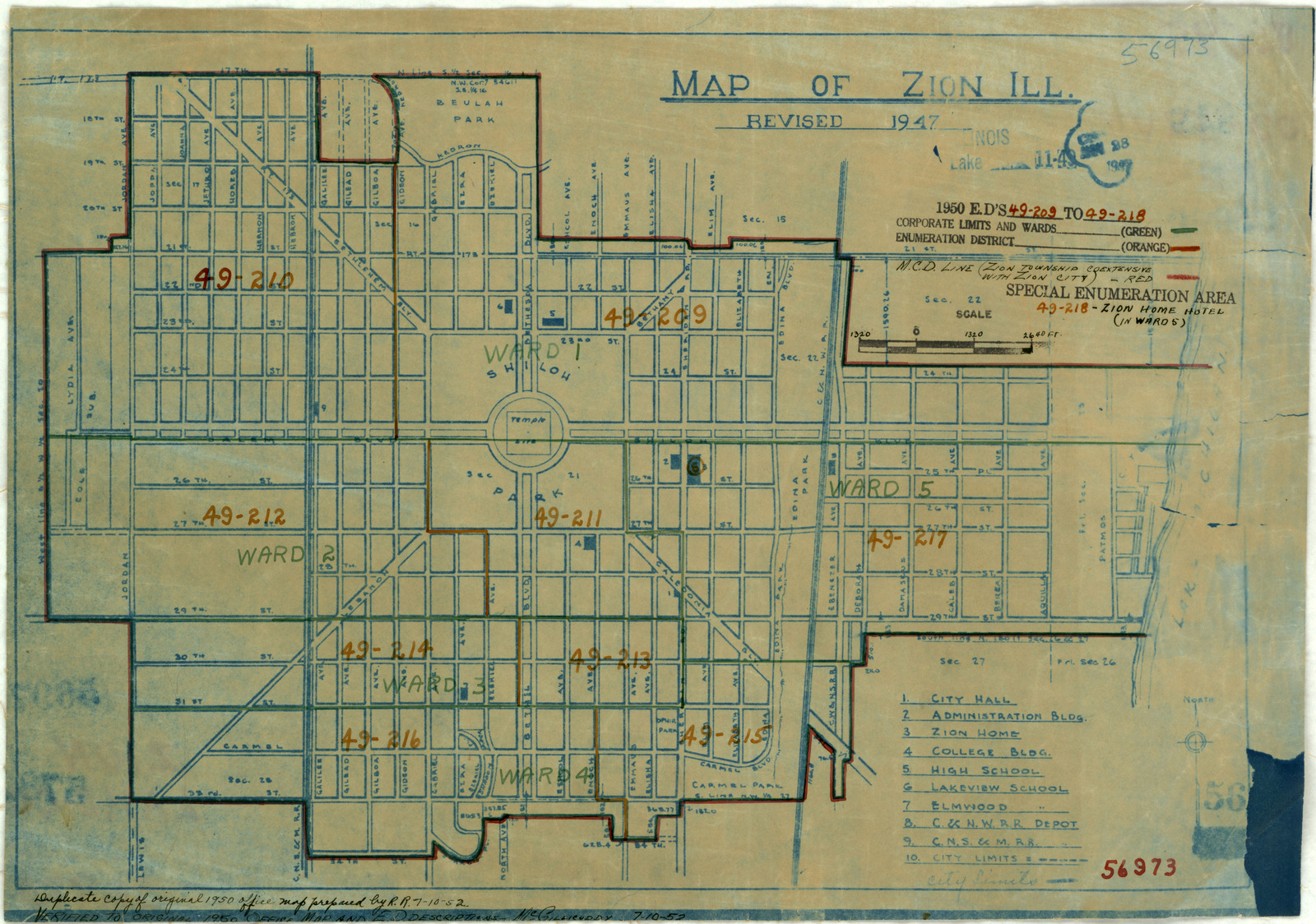 1950 Census Enumeration District Maps - Illinois (IL) - Lake County - Zion - ED 49-209 to 218