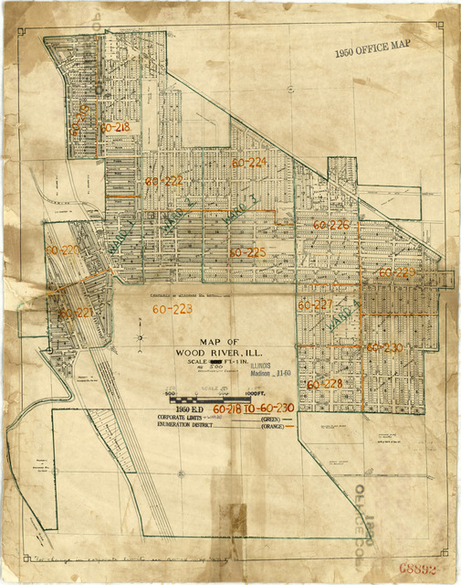1950 Census Enumeration District Maps - Illinois (IL) - Madison County - Wood River - ED 60-218 to 230