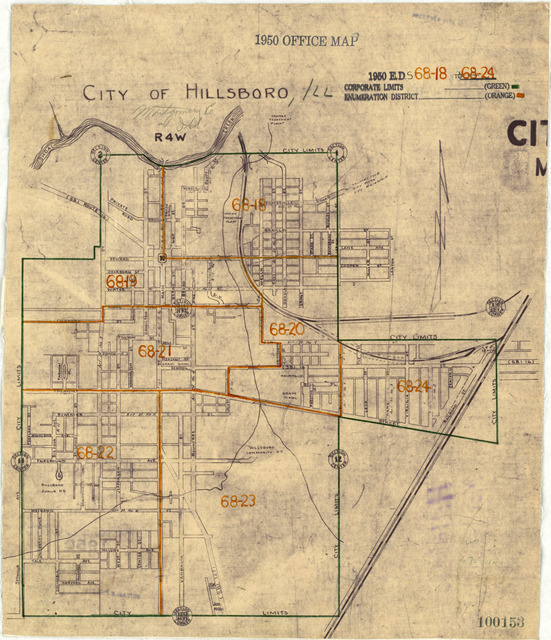 1950 Census Enumeration District Maps - Illinois (IL) - Montgomery County - Hillsboro - ED 68-18 to 24