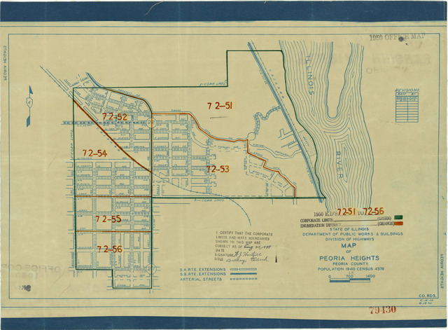 1950 Census Enumeration District Maps - Illinois (IL) - Peoria County - Peoria Heights - ED 72-51 to 56