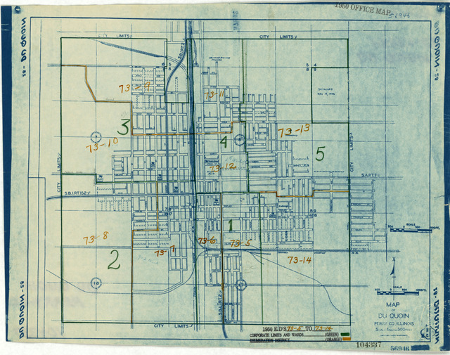 1950 Census Enumeration District Maps - Illinois (IL) - Perry County - Du Quoin - ED 73-5 to 14