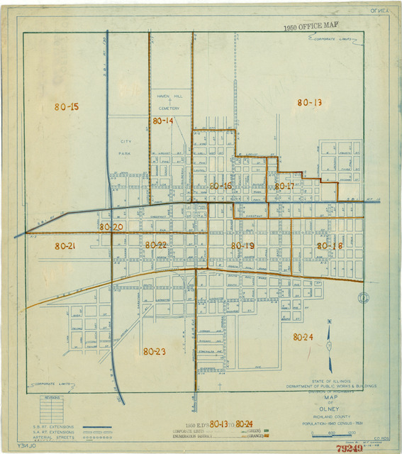 1950 Census Enumeration District Maps - Illinois (IL) - Richland County - Olney - ED 80-13 to 24