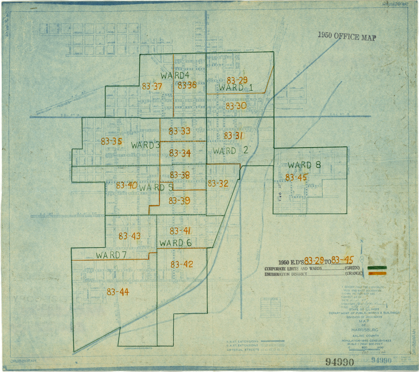 Harrisburg Illinois Map.1950 Census Enumeration District Maps Illinois Il Saline