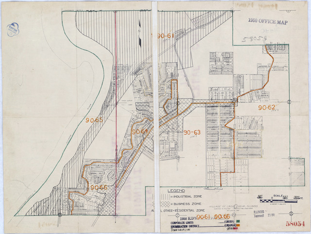 1950 Census Enumeration District Maps - Illinois (IL) - Tazewell County - Crevecoeur - ED 90-61 to 66