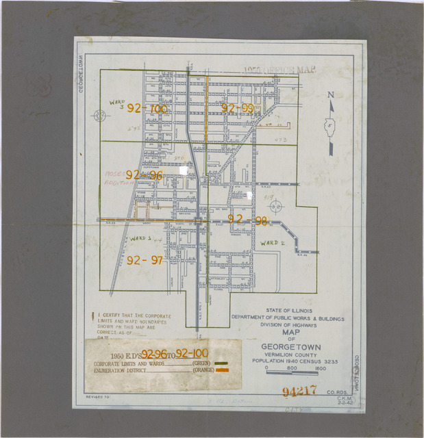 1950 Census Enumeration District Maps - Illinois (IL) - Vermilion County - Georgetown - ED 92-96 to 100