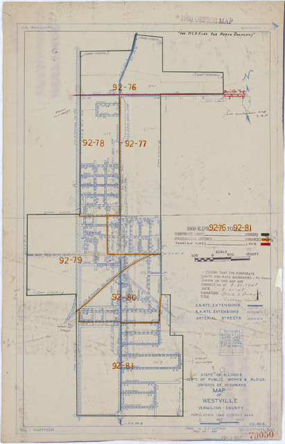 1950 Census Enumeration District Maps - Illinois (IL) - Vermilion County - Westville - ED 92-76 to 81