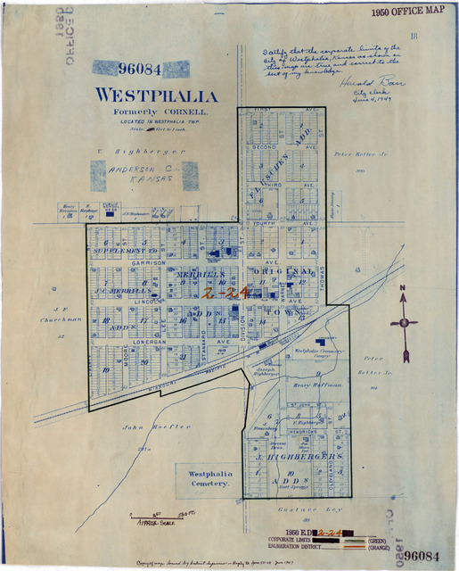1950 Census Enumeration District Maps - Kansas (KS) - Anderson County - Westphalia - ED 2-24