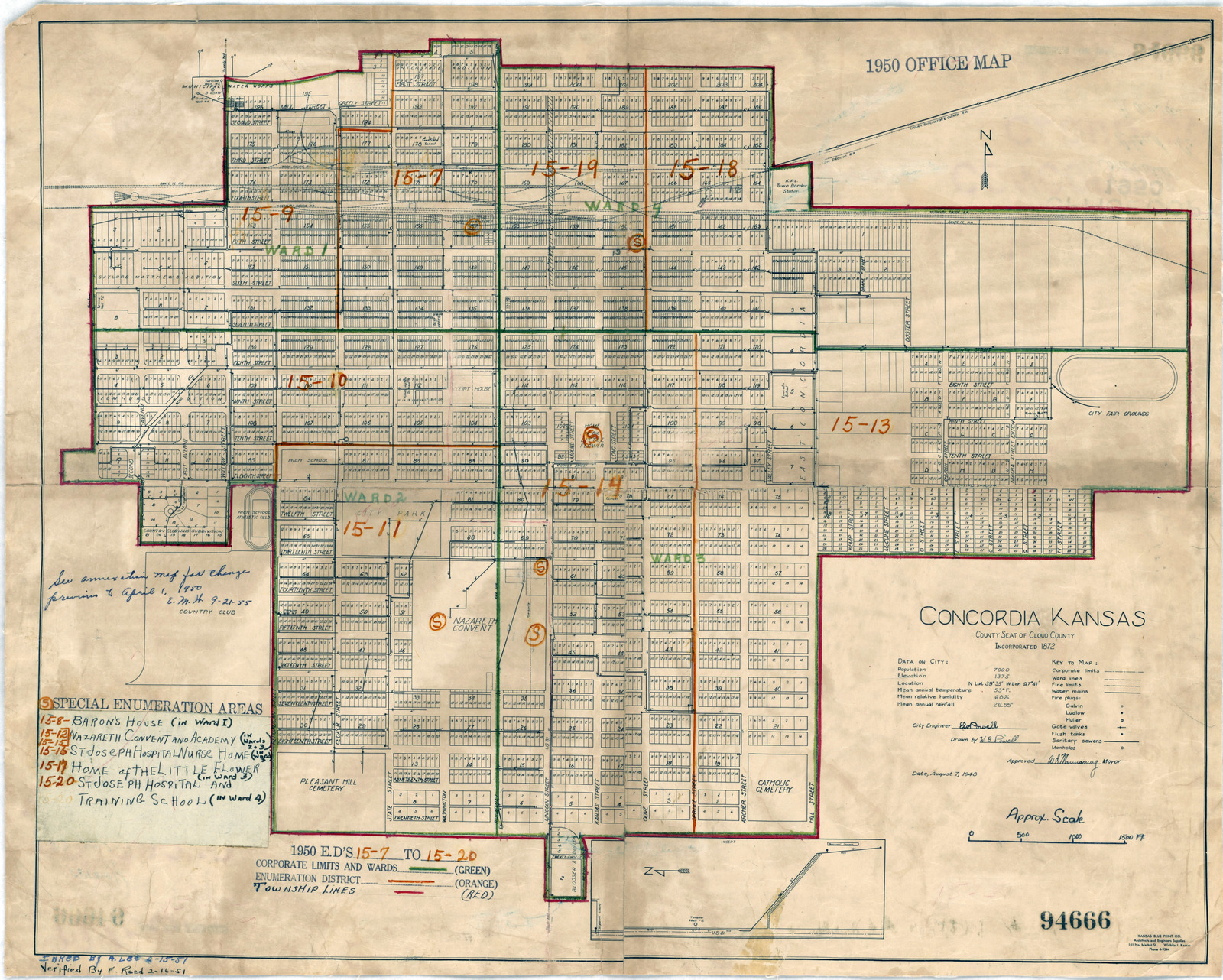 Concordia Kansas Map.1950 Census Enumeration District Maps Kansas Ks Cloud County