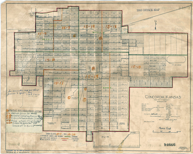1950 Census Enumeration District Maps - Kansas (KS) - Cloud County - Concordia - ED 15-7 to 20