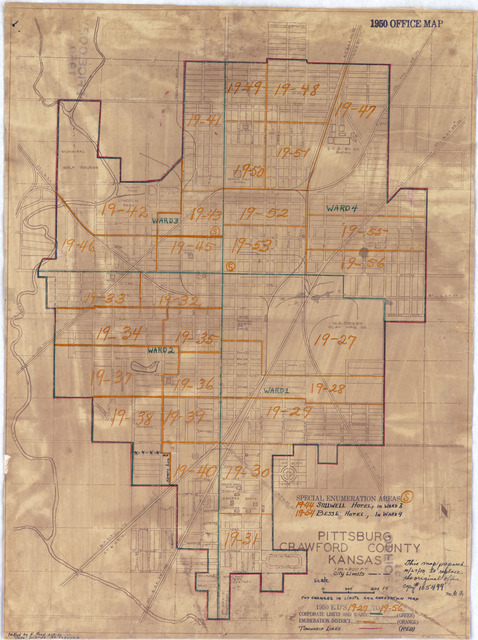 1950 Census Enumeration District Maps - Kansas (KS) - Crawford County - Pittsburg - ED 19-27 to 56