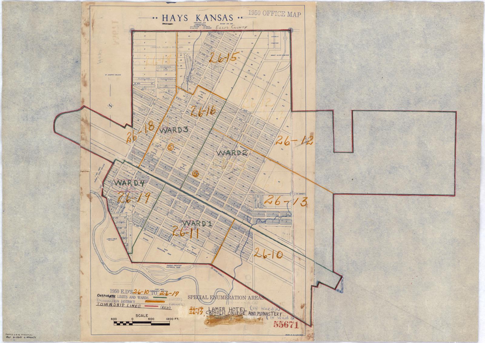 1950 Census Enumeration District Maps Kansas Ks Ellis County