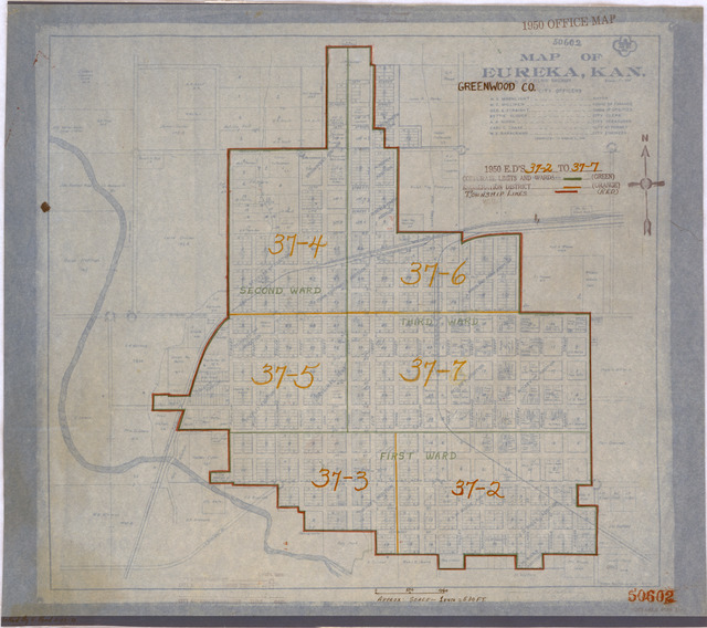 1950 Census Enumeration District Maps - Kansas (KS) - Greenwood County - Eureka - ED 37-2 to 7