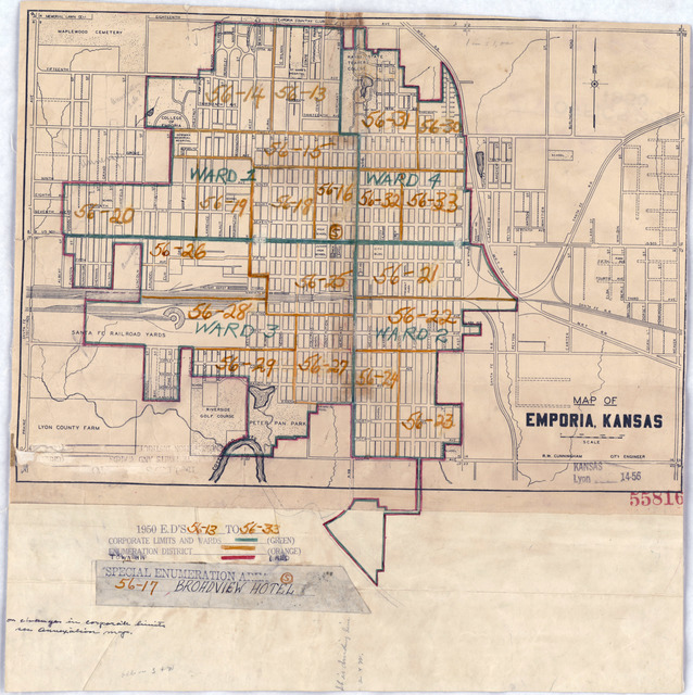 1950 Census Enumeration District Maps - Kansas (KS) - Lyon County - Emporia - ED 56-13 to 33