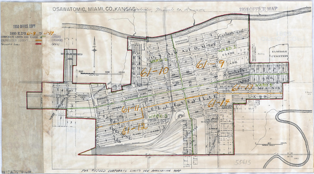 1950 Census Enumeration District Maps - Kansas (KS) - Miami County - Osawatomie - ED 61-9 to 14