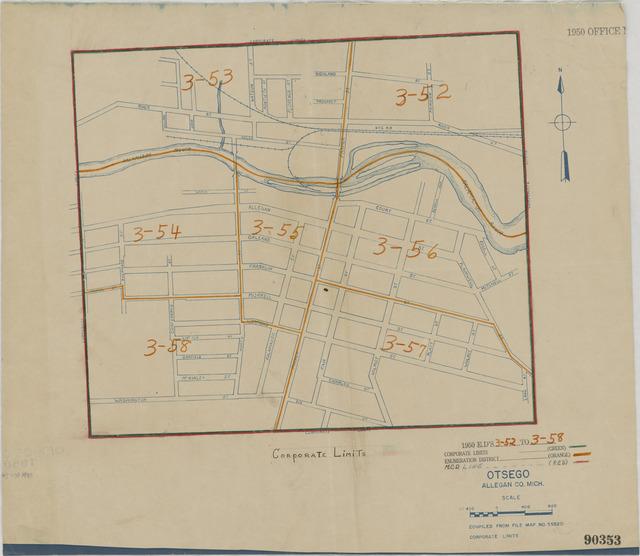 1950 Census Enumeration District Maps - Michigan (MI) - Allegan County - Otsego - ED 3-52 to 58