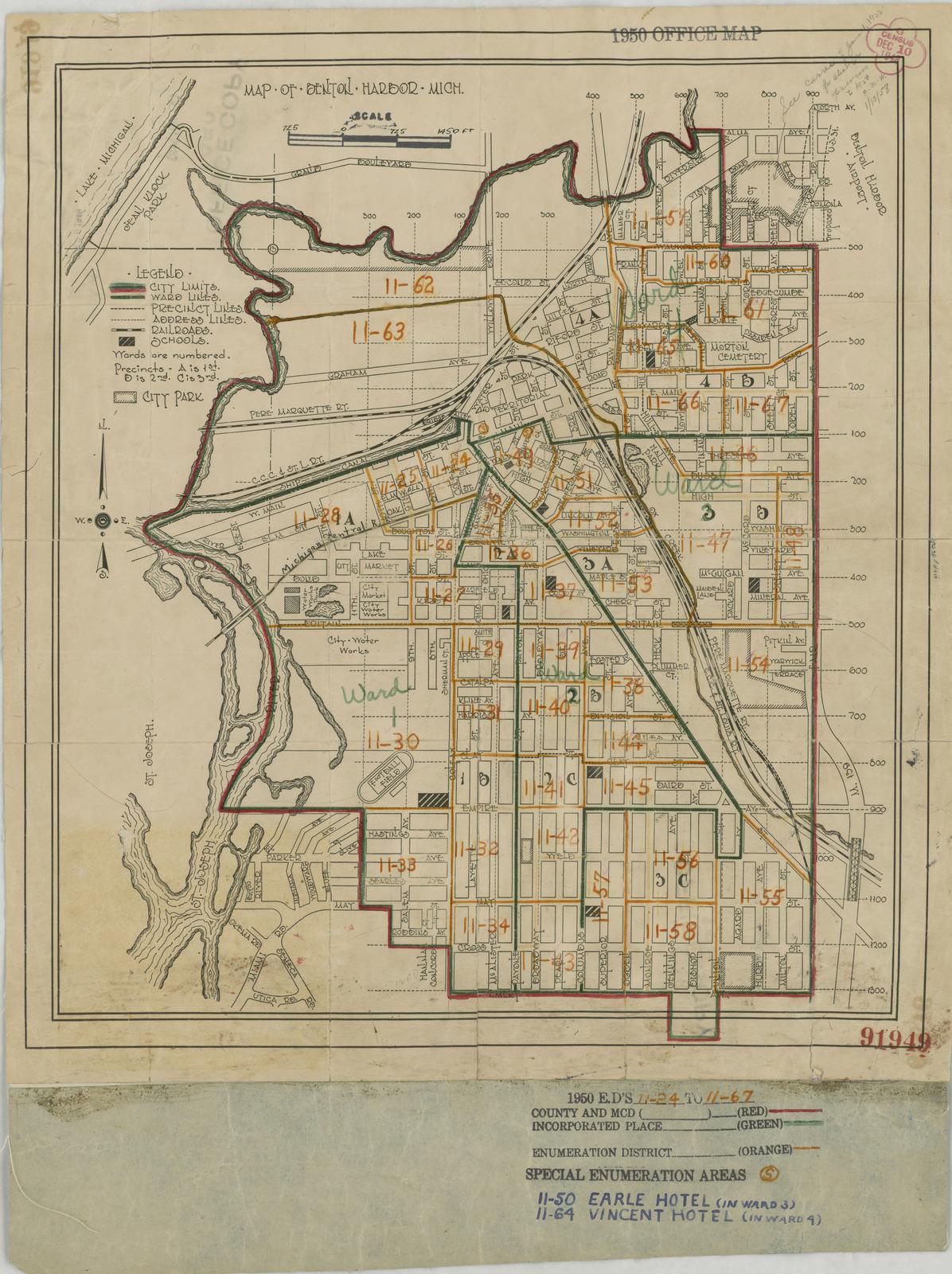 1950 Census Enumeration District Maps - Michigan (MI) - Berrien County - Benton Harbor - ED 11-24 to 67