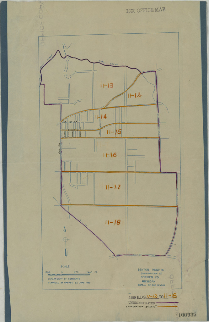 1950 Census Enumeration District Maps - Michigan (MI) - Berrien County - Benton Heights - ED 11-12 to 18