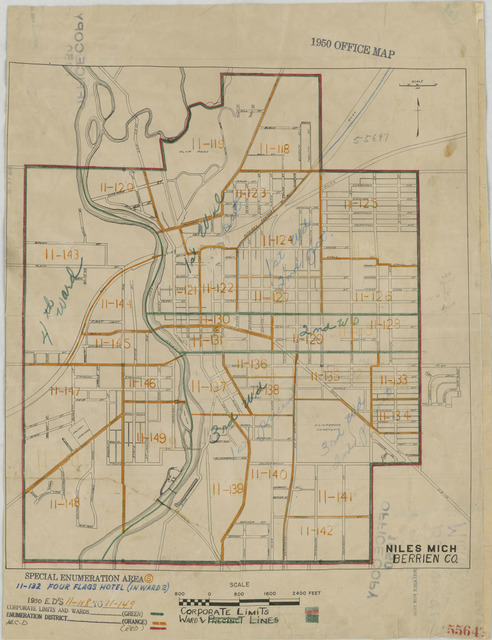1950 Census Enumeration District Maps - Michigan (MI) - Berrien County - Niles - ED 11-118 to 149