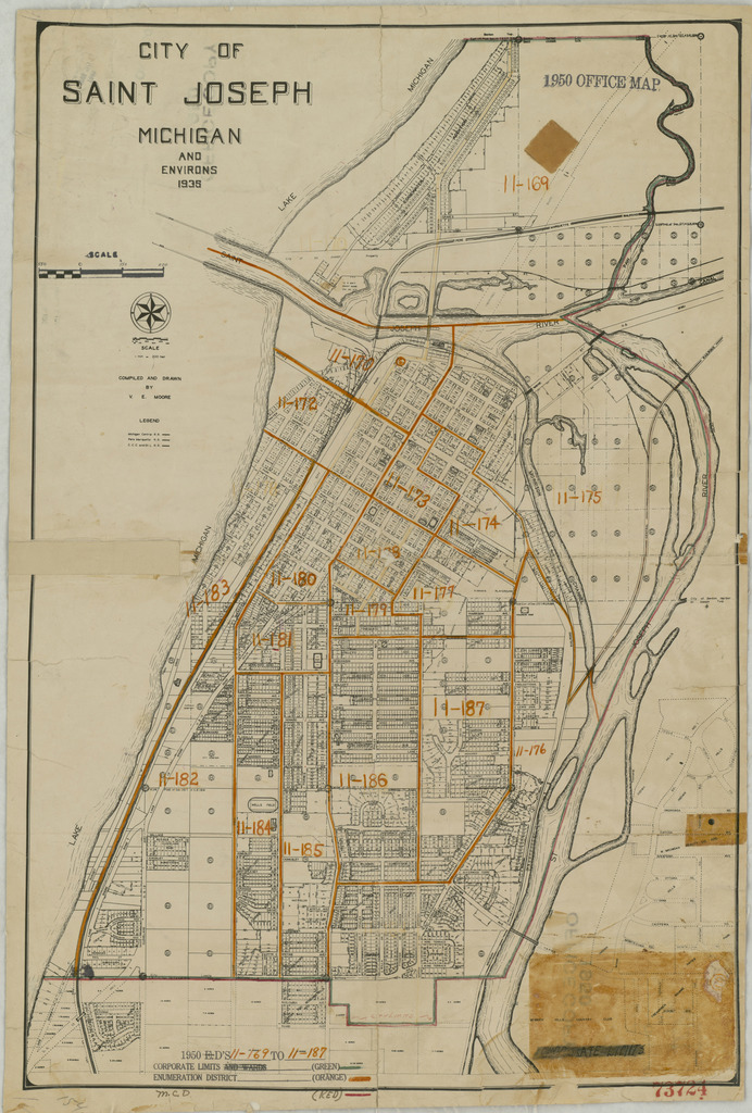1950 Census Enumeration District Maps - Michigan (MI) - Berrien County - St. Joseph - ED 11-169 to 187