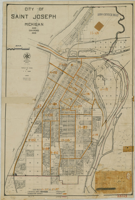 1950 Census Enumeration District Maps - Michigan (MI) - Berrien County - St. Joseph - ED 11-169 to 187
