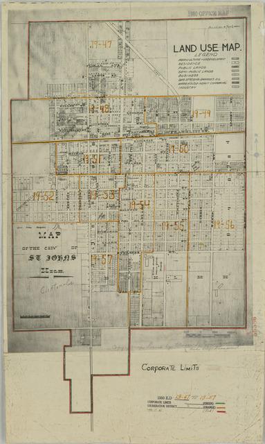 1950 Census Enumeration District Maps - Michigan (MI) - Clinton County - St. Johns - ED 19-47 to 57