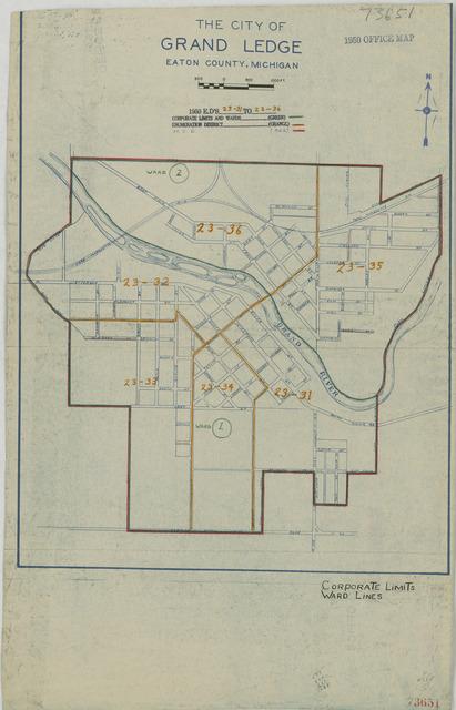 1950 Census Enumeration District Maps - Michigan (MI) - Eaton County - Grand Ledge - ED 23-31 to 36