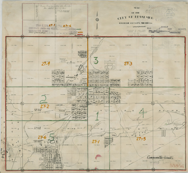 1950 Census Enumeration District Maps - Michigan (MI) - Gogebic County - Bessemer - ED 27-1 to 6