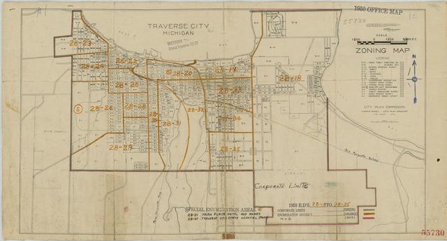 1950 Census Enumeration District Maps - Michigan (MI) - Grand Traverse County - Traverse City - ED 28-18 to 35