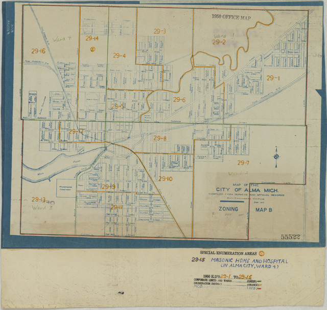 1950 Census Enumeration District Maps - Michigan (MI) - Gratiot County - Alma - ED 29-1 to 16