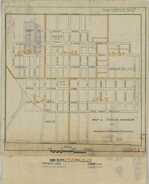 1950 Census Enumeration District Maps - Michigan (MI) - Gratiot County - Ithaca - ED 29-33 to 37