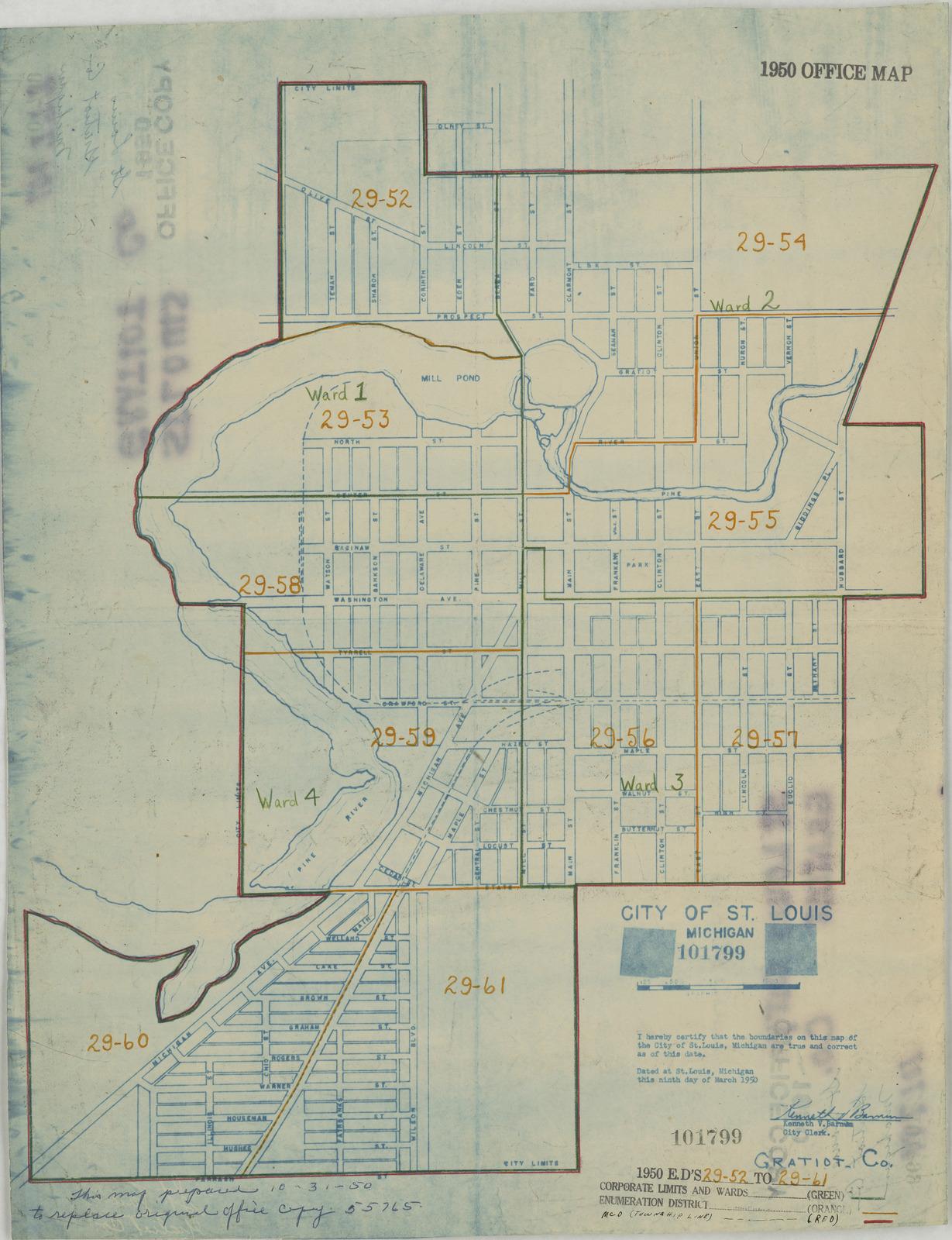 1950 Census Enumeration District Maps - Michigan (MI) - Gratiot County - St. Louis - ED 29-52 to 61