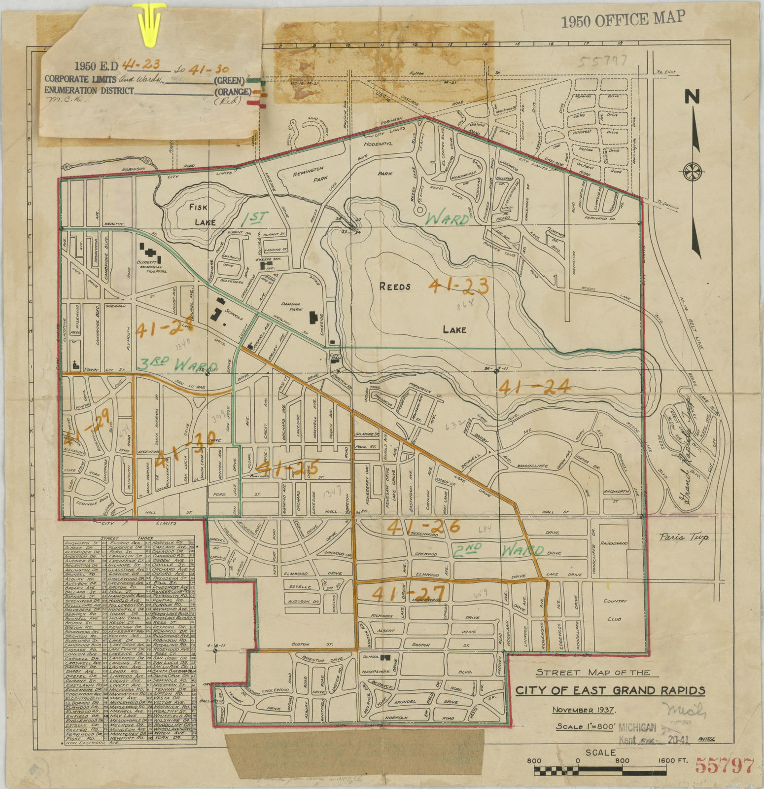 1950 Census Enumeration District Maps Michigan Mi Kent County East Grand Rapids Ed 41 23 To 30 U S National Archives Public Domain Image