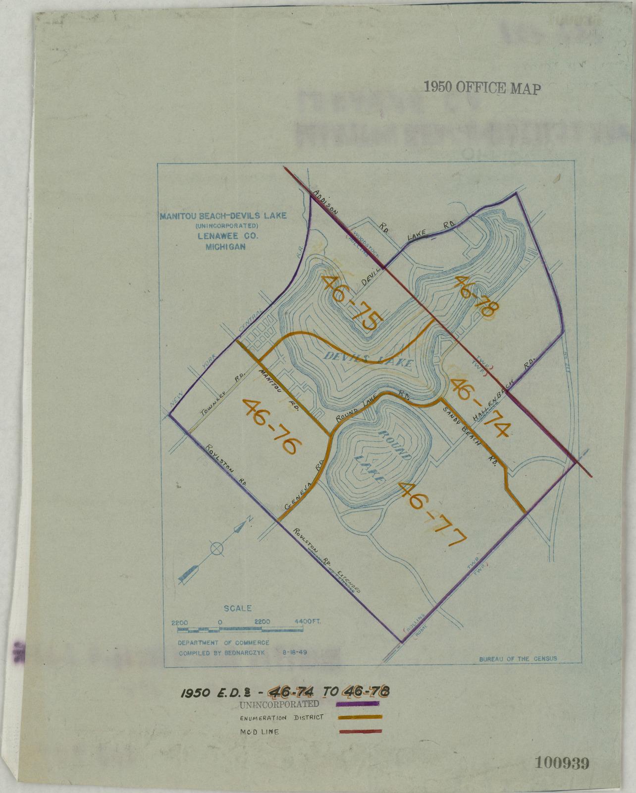 Addison Michigan Map.1950 Census Enumeration District Maps Michigan Mi Lenawee