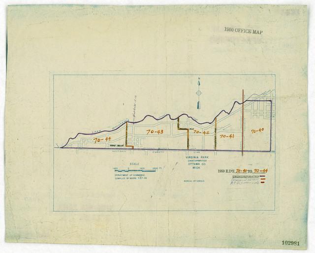 1950 Census Enumeration District Maps - Michigan (MI) - Ottawa County - Virginia Park - ED 70-40 to 44