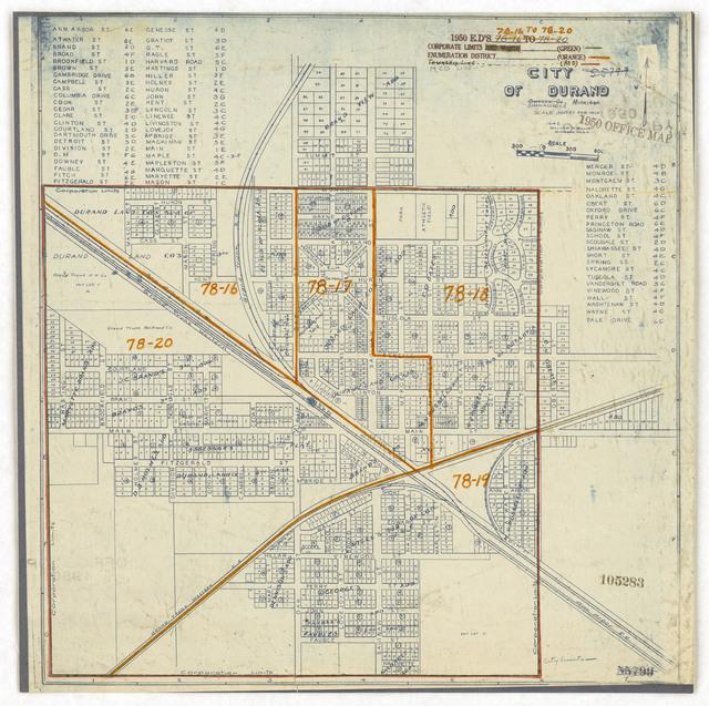 1950 Census Enumeration District Maps - Michigan (MI) - Shiawassee County - Durand - ED 78-16 to 20